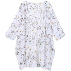 Olrain Women's Floral Print Sheer Chiffon Loose Kimono Cardigan Capes (€13) ❤ liked on Polyvore featuring tops, cardigans, white tops, floral kimono, floral tops, white kimono cardigan and white cardigan