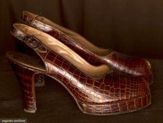 Augusta Auctions vintage shoes: pair aligator platform shoes, c. 1940    #vintage #shoes