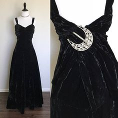 Black Beauty Gown | 1940s Vintage Black Velvet Evening Gown with Gorgeous Oversized Rhinestone Buckle | Size S/M