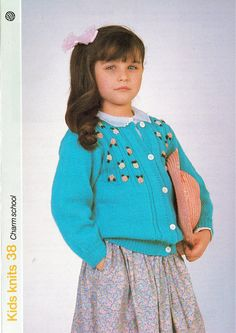 Items similar to PDF Vintage Pretty Baby Girl Knitting Pattern Floral Turquoise Cardigan with Embroidery Coloured Flowers Yoke Rose Party Blue on Etsy Turquoise Cardigan, Floral Cardigan, Vintage Knitting, Baby Knitting, Retro Outfits, Kids Outfits, Quick Knits, Knitting Patterns, Crochet Patterns