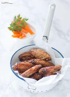 Alitas de pollo al horno al estilo Búfalo. Chicken Wings, Sausage, Almond, French Toast, Picnic, Bbq, Food Porn, Appetizers, Healthy Recipes