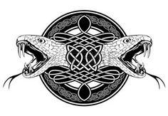 celtique: L'image de la tête de motifs serpent et du Celtic Illustration