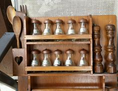 Vintage French wood wall 10 spice rack salt/pepper & roll holder & wood utensils Roll Holder, Salt And Pepper, French Vintage, Wood Wall, Utensils, Liquor Cabinet, Cabinets, Spice, Stuffed Peppers