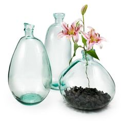Chelsea Vases Clear, $35-$45, made from 100% recycled glass