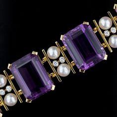 Large Retro Amethyst, Cultured Pearl and Diamond Bracelet