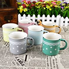 Japanese style ceramic cup zakka enamel lace polka dot mug cup glass-inMugs from Home  Garden on Aliexpress.com $4.49