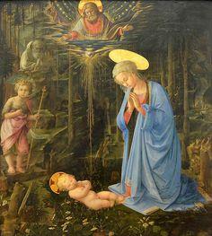 Maria adorante il Bambino, con il piccolo San Giovanni Battista e San Bernardo (Adorazione in the Woods), Fra Filippo Lippi, 1459    Old Master's Gallery (Gemaldegalerie), Berlin,