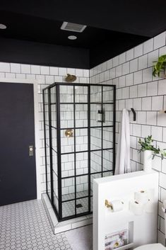 wow-this-modern-bathroom-reveal-is-absolutely-stunning-what-a-gorgeous-space-everything-from-the-black-tub-and-shower-frame-the-champagne-bronze-f/ SULTANGAZI SEARCH Storage Tubs, Built In Storage, Bathroom Storage, Bathroom Interior, Small Bathroom, Storage Units, Bathroom Black, Storage Ideas, Bathroom Mirrors