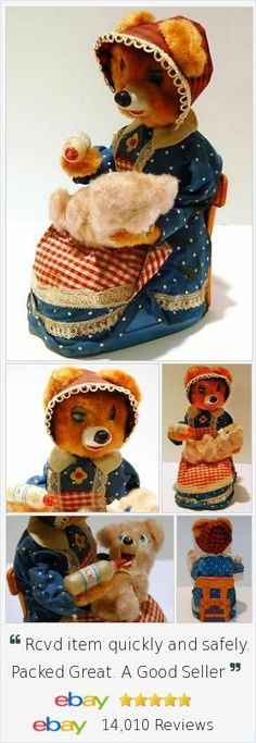 If you love to collect 1950s #batteryop toys from Japan, this is sure to be a focal point of your display. Hungry Baby Bear sits in his Mamas lap as she rocks and feeds him - 6 action toy. Works great!