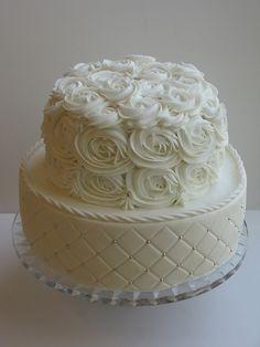 White wedding cake - roses and batting