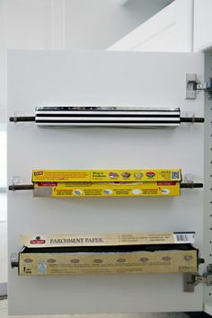 Ideas for the Kitchen Organization – Command Strips, Hooks apartment therapy - Kitchen Remodel Diy Kitchen Storage, Storage Cabinets, Diy Storage, Kitchen Decor, Kitchen Ideas, Organizing Ideas For Kitchen, Paper Storage, Kitchen Stuff, Caravan Storage Ideas