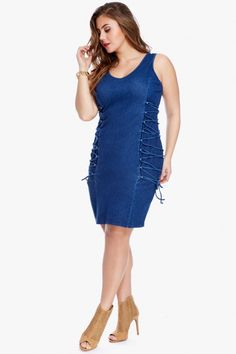 Raven Lace-Up Denim Dress    $46.90  Plus Size Raven Lace-Up Denim Dress | Fashion To Figure  Embrace the lace-up look for spring with this true blue, bodycon dress rendered in a denim-inspired stretch knit for maximum figure flattery. V-neck, sleeveless, lace-up sides.
