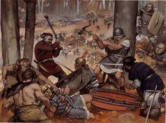 Angus McBride - La batalla del bosque de Teutoburgo