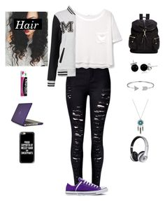 """High School Me/ Tag"" by myamarie101 ❤ liked on Polyvore featuring WithChic, MANGO, Converse, Calvin Klein, Bling Jewelry, Chapstick, Beats by Dr. Dre, Speck, Casetify and highschoolmetag"