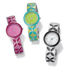 "Silvertone hinged cuff watch with enamel-look flower design. Offered in Turquoise color and Lime, Fuchsia and Pink, or Black and White. One size fits most. · Face: Approx. 1 3/32"" including the case; approx. 25/32"" without case · Battery: Replaceable SR626SW · Movement: Quartz-PC21J · Imported"