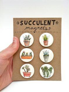 Succulent Magnets--Set of 6. $12.00, via Etsy.
