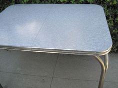 Vintage Retro Kitchen Formica Table   Circa 1950u0027s. Grey Cracked Ice  Design. My Parents