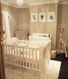 A simple yet effective gender neutral nursery! How stunning are the animal prints? Perfect to complement our Boori Sleigh cot bed and matching 3 drawer dresser. Baby Nursery Neutral, Baby Nursery Decor, Baby Decor, Nursery Room, Girl Nursery, Neutral Nurseries, Rustic Nursery, Animal Theme Nursery, Nursery Themes