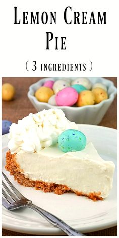 Lemon Cream Pie is delicious. With only three filling ingredients it's easy to put together. Using a premade graham cracker crust saves you even more time. via @https://www.pinterest.com/BunnysWarmOven/bunnys-warm-oven/