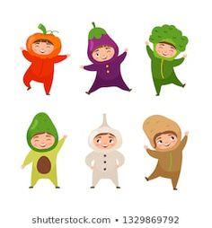 Vector illustration of cute kids in vegetables costumes. Character template for packaging. Diy Felt Christmas Tree, Christmas Ornaments, Infant Bulletin Board, Vegetable Costumes, Character Template, Felt Diy, Preschool Crafts, Cute Kids, Doodles