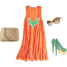 I have this necklace and same color point toe pumps. Pair with coral backless halter and shorts or jeans.