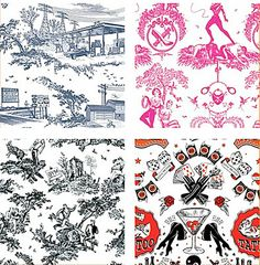 Twisted Toile: Witty Wallpaper & Home Accessories With A Modern Toile.