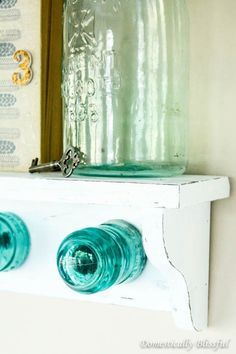 Antique Glass Insulator Coat Rack Shelf