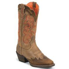 Justin Women's Tiger Tan Buffalo Overlay Western Boots