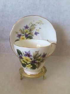 DUCHESS BONE CHINA CUP & SAUCER Violets Buttercups Purple Yellow Flowers England - found mine at a thrift store