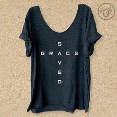 Saved By Grace Grey Slouchy Boyfriend Tee Scripture by weekendUP