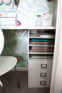 68 Ideas For Bedroom Closet Office Drawers Basement Home Office, Closet Office, Office Nook, Home Office Decor, Office Spaces, Office Ideas, Hall Closet, Office Designs, Small Office