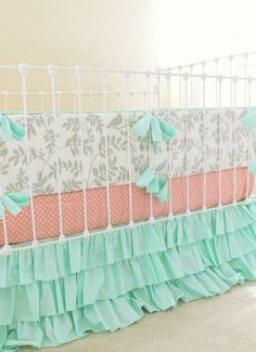 We adore mint green in a baby girl nursery! How perfect is this bedding from…