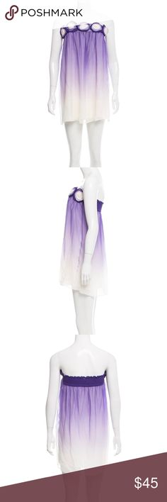 Alice + Olivia Purple White Silk Mini Dress M 4 6 Label-Alice + Olivia  Style-Sexy Purple And white Ombré Silk Chiffon Strapless Dress. Cute Rosettes on Bustline, Full elastic smocked back for adjustable sizing, Short, mid thigh mini length,  Size-M Shown on a Size 2 Mannequin Will fit a 4 or 6 Accommodates a larger Bust  Measurements-B-34, Length from underarm to hem-26 inches  Color-Purple White Ombré  Fabric- Silk Chiffon, viscose lining Condition-Worn once, a few minor pulls that are not…