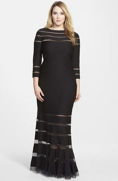 Tadashi Shoji Pintuck Gown with Burnout Stripes (Plus Size) available at #Nordstrom