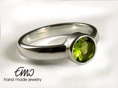 Natural Peridot silver ring Solitaire Ring  Stackable Ring  Statement Ring Promise Ring