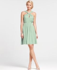 Silk Georgette Keyhole Halter Bridesmaid Dress, I also like this in the frosted fern... pretty
