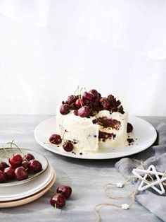 Chocolate cherry fudge and coconut ice-cream cake