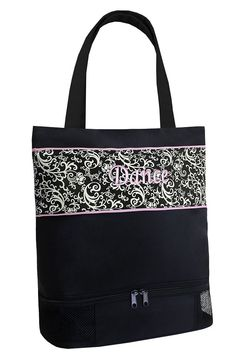 0ff0fae6d0 Amazon.com   It s a Girl s Life Damask Dance Tote in ECRU with Shoe  Compartment   Sports   Outdoors