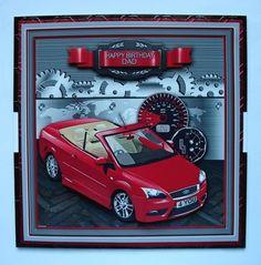 Red Sports Car with Speedo 8in x 8in Decoupage Mini Kit on Craftsuprint - View Now! Happy Birthday Grandpa, Husband Birthday, Happy Fathers Day, Butterfly Gifts, Butterfly Cards, Red Sports Car, Gift Cards Money, Motorbike Design, Pocket Cards