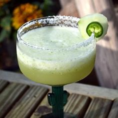 "Jalapeno and Cucumber Margarita | ""Winner of the Gold Star Award! About once a year I find a new recipe that is worthy of more than five stars. This one deserves highest honors. If this doesn't make you feel the summertime fun, nothing will."""