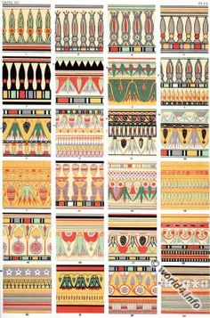 Ancient Egyptian ornaments from Karnac, Thebes. Mummy-case. Lotus ornaments. Egypt Sarcophagus decoration.