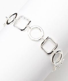 Take a look at this Silver Open Hammered Geometric Bracelet by Moda Designs on #zulily today! $15 !!
