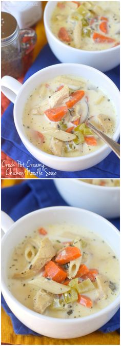 Crock Pot Creamy Chicken Noodle Soup that whips up fast but is BUSTING with amazing flavor! The BEST kind of recipe!