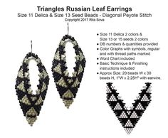 Triangles Russian Leaf Earrings | Bead-Patterns.com
