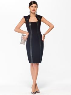 An angled neckline and faux leather panels bring edgy attitude to this ponte sheath dress, built with princess seams for a figure-flattering fit.Faux leather panels on frontSquare necklineBack zipLined39 inch body length 68% rayon, 28%nylon, 4% spandex Lining 100% polyesterPanels: 100% polyurethaneImportDry clean