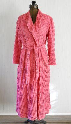 Vintage Cotton Ladies Chenille Bathrobe Coral by HazeyJaneVintage, $18.00