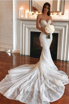 Stunning Embellished Strapless Sweetheart Mermaid Wedding Dress / Bridal Gown Open Back and Long Train. Dress by Pallas Couture The post Stunning Embellished Strapless Sweetheart Mermaid Wedding Dress / Bridal Gown Op& appeared first on Wedding. Plain Wedding Dress, Sweetheart Wedding Dress, Backless Wedding, Wedding Dress Trends, Wedding Dress Sleeves, Wedding Bridesmaid Dresses, Dream Wedding Dresses, Bridal Dresses, Gown Wedding