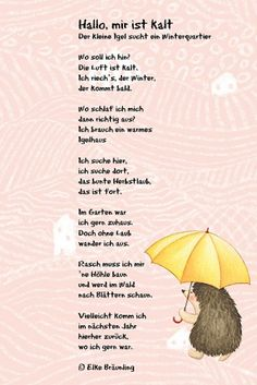 Hello, I& cold. Igel poem - Hello, I& cold. Igel poem The Effective Pictures We Offer You About school notes A quality p - Winter Activities, Family Activities, La Petite Taupe, Formation Montessori, Kindergarten Portfolio, Learn German, German Language, Infant Activities, Early Education