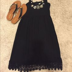 Adorable Brand New Black Dress With Lace Detail