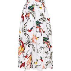 Erdem Elena pleated printed cotton-poplin midi skirt (£750) ❤ liked on Polyvore featuring skirts, bottoms, white, mid calf skirts, white midi skirt, box pleat midi skirt, box pleat skirt and white pleated skirt